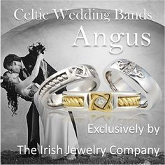 """The Angus Collection is based on the Irish God Angus also known as """"Angus the Young"""". He was considered the Irish God of love. Angus had a harp and played irresistible music, and it was said his kisses turned into birds that carried messages of love. http://www.theirishjewelrycompany.com/collections/wedding-rings.html"""
