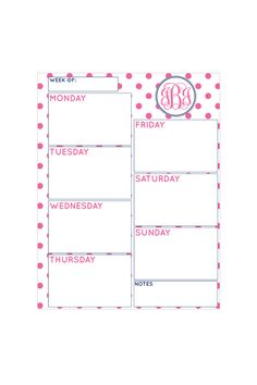 Super cute site with FREE monogram planners. I picked out this one and will put behind a cheap picture frame to use at work :) Already have the dry erase markers ready