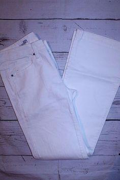 Gap 1969 Pants 27/4 White Long Lean Cotton Denim Casual Boot Cut Jeans #GAP #BootCut