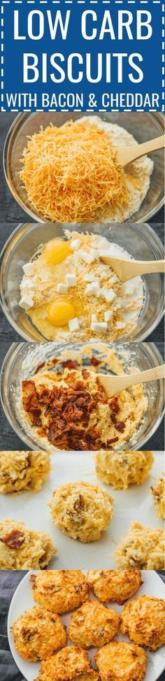 Low carb biscuits with bacon and cheddar | Biscuits can be delicious and healthy -- like these easy homemade biscuits made with almond flour, cheddar cheese, and bacon. keto / low carb / diet / atkins / induction / meals / recipes / easy / dinner / lunch / foods / healthy / best / recipe / how to make / sugar free / gluten free / english muffins / glutenfree / paleo / thanksgiving #lowcarb #healthy via @savory_tooth