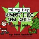 Roll, Say, Keep! A fun game focusing on numbers 1-100, as well as, 40 beginning sight words with a Christmas theme!