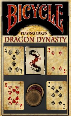 "Dragon Dynasty Bicycle® cards with a hint of ""Traditional"" Chinese power. Packed with Warriors and Dragons, NinjaStar Not Included."