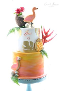 Flamingo & Pineapple cookies with coconut and tropical flowers Flamingo Cake, Flamingo Birthday, Flamingo Party, Decors Pate A Sucre, Happy Cake Day, Luau Cakes, Hawaian Party, Bolo Cake, Tropical Party