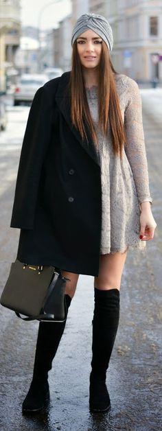 Grey Lace Skater Dress by Stylish ! - MICHAEL Michael Kors Black Selma