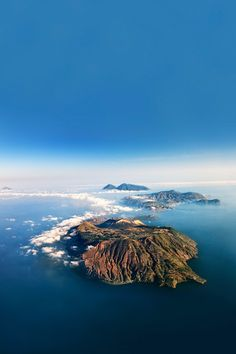 A view of the Aeolian islands of Salina, Lipari and Alicudi in the Mediterranean Sea