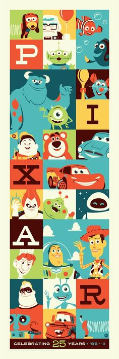"""Pixar: Celebrating 25 Years"". Art by Dave Perillo. #pixar #disney"