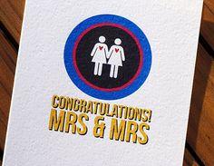 Gay Wedding Card Brides by HeartsGrowFonder on Etsy, $2.75