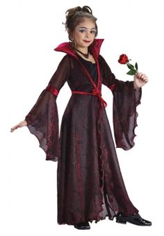 The Goth Rose costume for girls is an amazing costume that every little girl will love this Halloween. Holiday Costumes, Halloween Costumes For Girls, Cool Costumes, Halloween Ideas, Girls Vampire Costume, Vampire Costumes, Dracula Costume, Rose Costume, Beautiful Costumes