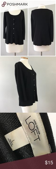 Ann Taylor LOFT Black Button Up Sweater Ann Taylor LOFT Black Button Up Sweater. Size large with stretch. Sweater is nice and medium in weight. Thank you for looking at my listing. Please feel free to comment with any questions (no trades/modeling).  •Fabric: Rayon Blend  •Condition: Very good, no visible flaws.   ✨Bundle and save!✨10% off 2 items, 20% off 3 items & 30% off 5+ items! KC Ann Taylor Sweaters Cardigans