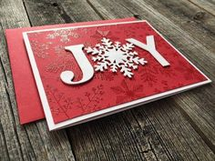 Homemade Cards Discover Set of 5 Joy Christmas Cards Handmade Blank Christmas Notecards Holiday Snowflake Cards Set Cricut Christmas Cards, Simple Christmas Cards, Homemade Christmas Cards, Handmade Christmas, Homemade Cards, Christmas Diy, Stampinup Christmas Cards, Stamped Christmas Cards, Scrapbook Christmas Cards