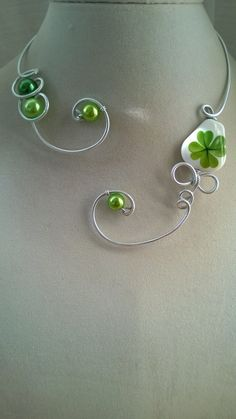 Four Leaf Clover Clover Leaf jewelry Good by LesBijouxLibellule Wire Necklace, Metal Necklaces, Earrings, Gifts For Women, Gifts For Her, Aluminum Wire Jewelry, Good Luck Gifts, Leaf Jewelry, Four Leaf Clover