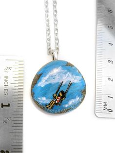 Swing Necklace Art Pendant Little Girl Swinging by rainbowofcrazy