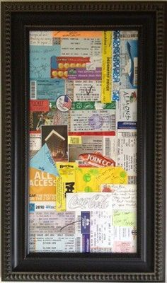 All of our memories in a frame. My husband and I kept all concert tickets, festival passes, wrist bands, hotel cards, love notes, etc., created a collage and framed it. It's by our front door so everyone that comes in our home gets a glance of 'us' :) - Click image to find more DIY & Crafts Pinterest pins