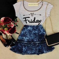 Tmpgsaia e camiseta - skirt and shirt Love Fashion, Girl Fashion, Fashion Looks, Fashion Outfits, Womens Fashion, Fashion Design, Summer Outfits, Casual Outfits, Cute Outfits