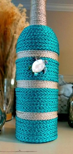 Sea Turtle Yarn Wrapped Wine Bottle Decorative by thewhimsybox