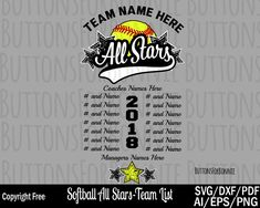 Softball svg, little league svg, tball svg, champion svg, all star svg, all star champion svg, back of shirt svg, team members svg, cut file by ButtonsForBonnie on Etsy T Shirt Printing Company, Star Svg, Team T Shirts, Team Names, Personal Branding, All Star, Champion, Softball Mom