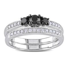 Miadora Sterling Silver 1/2ct TDW Black and White Diamond Ring Set (H-I, I2-I3) | Overstock™ Shopping - Top Rated Miadora Bridal Sets