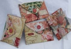 Vintage Fabric Envelopes -- historically ladies kept their calling cards in them.