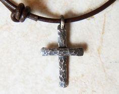 Sterling Silver Cross - Small - Chunky Hammer Textured - Oxidized - Cross Pendant - Leather Cord - Choker - Necklace, $29.95