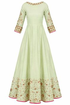 Pista Green Embroidered Anarkali Set availabnle only at Pernia's Pop Up Shop. Indian Gowns Dresses, Indian Fashion Dresses, Indian Designer Outfits, Pakistani Dresses, Indian Outfits, Designer Dresses, Designer Clothing, Silk Anarkali Suits, Anarkali Dress