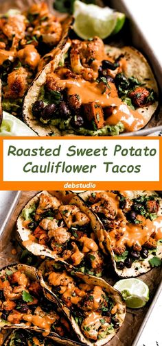 Cauliflower Recipes 99916 Roasted Sweet Potato + Cauliflower Tacos is an easy taco vegetarian recipe, with the fillings of roasted cauliflower, black beans, roasted sweet potatoes, and topped with the vegan Chipotle lime kasew Crema. Vegetarian Recipes Videos, Vegetarian Breakfast Recipes, Healthy Recipes, Vegetarian Sweet Potato Recipes, Vegan Recipes With Sweet Potatoes, Vegetarian Tacos, Kid Recipes, Recipes For Vegetarians, Healthy Vegetarian Dinner Recipes
