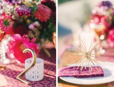 MID-CENTURY MODERN PALM SPRINGS WEDDING INSPIRATION  |  Photography by Jessica Claire  | Hotel Lautner |  Floral design by Oak & the Owl  | Hostess Haven vintage glassware | gold starburst  | mid-century table numbers |  purple, coral, fuchsia, burgundy, plum, gold