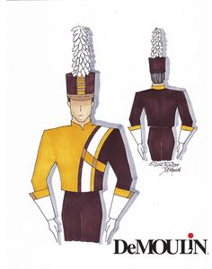 Rob Depp Designs - Made-to-Order Uniforms - Marching Band - DeMoulin by Rob Depp ©DeMoulin Outfit Essentials, Pink Ray Bans, Marching Band Uniforms, Best Casual Dresses, Drum Major, Fashion Portfolio, Girl Reading, Trends, Professional Outfits
