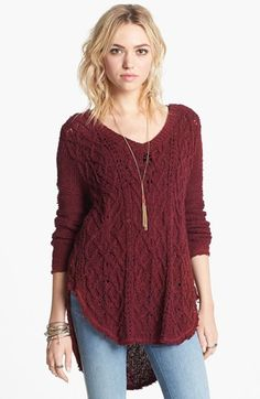 Free People 'Cross My Heart' High/Low Sweater available at #Nordstrom I would by this in deep orchard and ivory