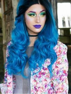 Black to Blue Mermaid Wavy Lace Front Synthetic wig Brown Hair Shades, Brown Hair With Blonde Highlights, Brown Hair Colors, Hair Colours, Green Wig, Blue Wig, Synthetic Lace Front Wigs, Synthetic Wigs, Trending Hairstyles