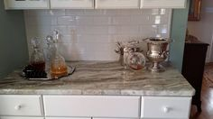 Another great kitchen by USA Stone and Tile! Island and Butler's Pantry is Fantasy Brown and the perimeter is made of Grey Expo New Kitchen, Kitchen Dining, Fantasy Brown, Blue Backsplash, Butler Pantry, Kitchen Countertops, Tile, Island, Usa