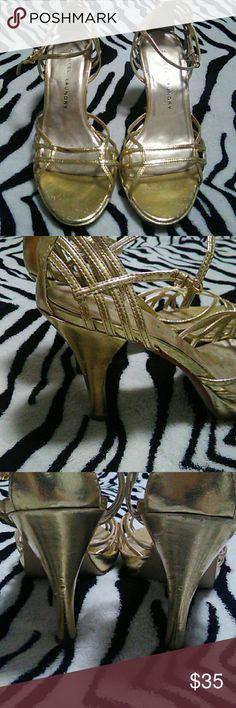 Chinese Laundry Heels Gold rush!! Well loved gold heels with a TON more life! See pics for imperfections. They are a little wonky from sitting in a closet, but will whip back into shape with wear! Chinese Laundry Shoes Heels