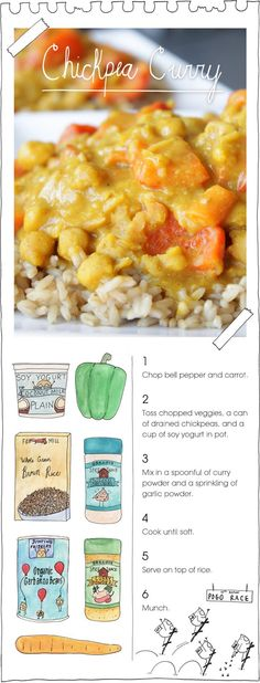 chopped veggies can of chickpeas, greek yogurt, spoonful of curry powder and touch of garlic powder. Serve on top of rice...