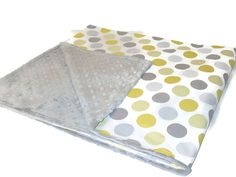 Yellow Polka Dot and Grey Minky Dot Baby Crib by LilBitsofSugar