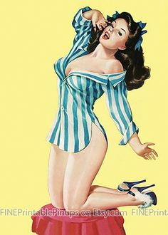 pinup pin up vintage classic old retro illustration drawing painting poster girl woman pretty sexy vargas elvgren art pajamas heels high stripes blue white yellow brunette dark bow ribbon ottoman slippers artist hair dress 50s 40s 30s 20s 60s 70s 1920 1930 1940 1950 1960 1970 300dpi printable quality public domain creative commons free