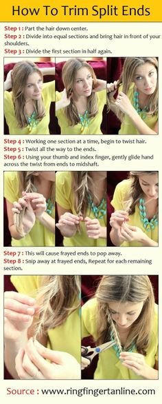 How to Treat Split Ends. Split ends occur when hair becomes weak and begins to break near the end of the hair shaft. Too much heat styling, sunlight, or harsh styling products can all cause split ends. Twist Hairstyles, Down Hairstyles, Pretty Hairstyles, Wedding Hairstyles, Beauty Tutorials, Beauty Hacks, Beauty Tips, Hair Tutorials, Makeup Tutorials
