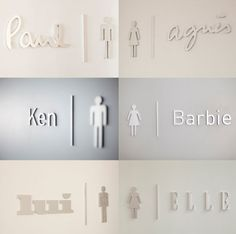 Wow! The sex of brands:  New brand couples serve as signs for the men's and ladies' toilets.