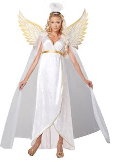 #01323 A radiant beauty, this angel costume will keep you safe on Halloween. Includes: - White gown with golden trim and detachable feather epaulettes - Wings - Halo Sizes: S(6-8), M(8-10), L(10-12)