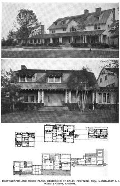 Kiluna Farm | Ralph Pulitzer's North Hills estate designed by Walker & Gillette (c. 1910). Pulitzer was the son of Joseph Pulitzer and publisher of the New York World. Married to Frederica Vanderbilt Webb. Estate included pool, bathhouse, garden with a lily pond and pergola designed by Charles Platt, and a tennis court by James O'Connor. Pulitzer sold the house in 1938 to William S. Paley.