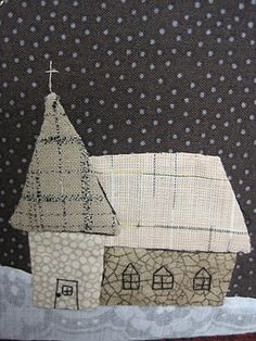 Not a house but a church - just love the muted fabrics - looks like a Sharon Blackman creation.