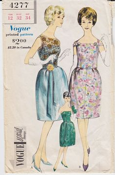 Vintage Pattern Vogue 4277 Stapless Dress with Overblouse 60s Size 12 B32