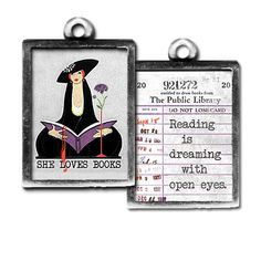 """Our """"She Loves Books"""" and """"Reading is Dreaming with Open Eyes"""" two sided charm can be worn alone or combined with other charms to create a personalized gift for the """"bookworm"""" in your life. Each charm has a clip at the top that will easily attach to any of our necklace or bracelet chains! $13.99 by Pick Up Sticks Jewelry."""