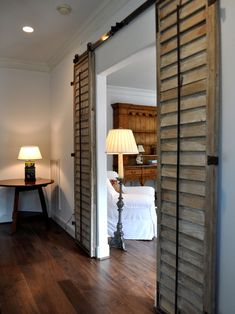 French Shutters Design, Pictures, Remodel, Decor and Ideas... Love the wooden French doors