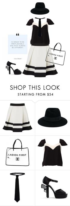 """""""Irreplaceable'"""" by dianefantasy ❤ liked on Polyvore featuring Lipsy, Maison Michel, Chanel, Miu Miu, RED Valentino, blackandwhite, inspiration, SpringStyle and polyvoreeditorial"""