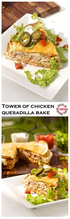 This tower of chicken quesadilla bake is a great way to use up that leftover chicken and is even more quick and easy then regular chicken…