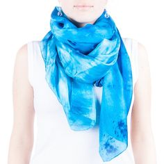 Turquoise Silk Scarf Magnificent Light Blue Shawl Large Blue and White... (45 AUD) ❤ liked on Polyvore featuring accessories, scarves, light blue, women's clothing, summer scarves, print scarves, pure silk scarves, turquoise scarves and shibori scarves