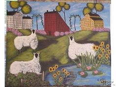 Sheep with sunflowers and lilies