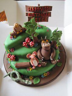 Gruffalo First Birthday Cake Ideas - my tortoise mind Gruffalo Party, Jungle Cake, Second Birthday Ideas, 3rd Birthday Cakes, Character Cakes, Novelty Cakes, Cute Cakes, Creative Cakes, Celebration Cakes