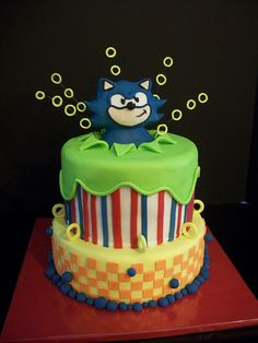 Sonic the Hedgehog Cake-By The Mad Platters cake Sonic The Hedgehog Cake, Sonic Cake, Cupcakes, Cupcake Cakes, Character Cakes, Just Cakes, Colorful Cakes, Fancy Cakes, Sweet Cakes