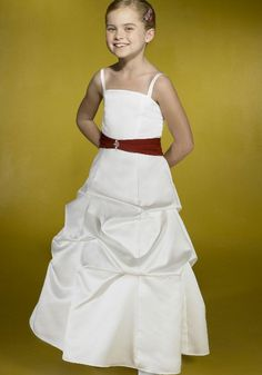 2015 Taffeta Ivory Ruched Floor Length Spaghetti Straps Sleeveless Flower Girl Dresses By Alexia FGD007