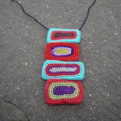Olga apilados Crochet collar oblongo por gitte en Etsy